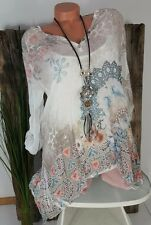 NEU LINDSAY ITALY 2TLG ZARTE CRASH BLUSE TUNIKA + TOP ORNAMENT PRINT  36 38 40