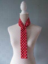 Red and white polka dot thin scarf, red skinny scarf, red spotted mod scarf