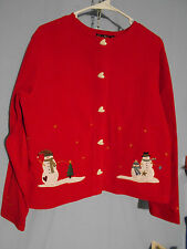 WOMENS UGLY CHRISTMAS SWEATER FLEECE RED SNOWMEN MEDIUM CARDIGAN