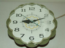 Vintage Working 1960's G.E. Green Mid Century Style Daisy Kitchen Wall Clock