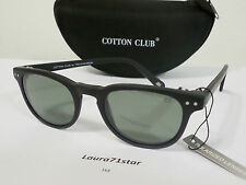 CottonClub 1101 Matte Black Round Polarized occhiali da sole Sunglasses New