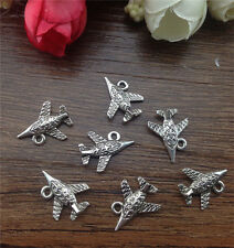 Wholesale 16pcs Tibet silver Aircraft Charm Pendant beaded Jewelry Findings
