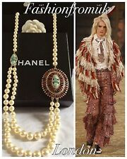 £1300 CHANEL RUNWAY JEWELED LONG PEARL NECKLACE BELT