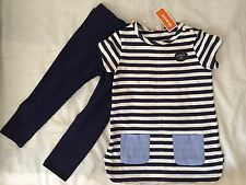 Bluezoo Baby Girl's navy striped tunic and leggings set 18-24 months