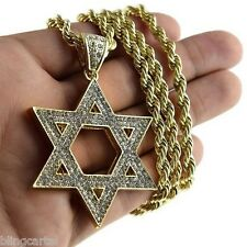 "Star Of David Pendant Jewish Kabbalah Charm Gold Finish Necklace 30"" Rope Chain"