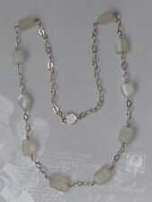 "Vintage Sterling Necklace, Natural Moonstone, AK clasp, 25"" Konder #294"