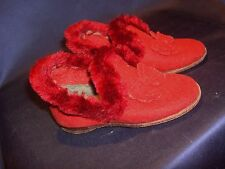 Child's or Doll's Antique Red Felt Shoes or Slippers Juliet Original Box