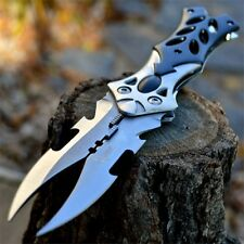"8.5"" Dual Twin Blade Fantasy Cosplay Folding Pocket Knife Tactical Combat Dragon"