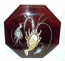 Korean Shrimp Jeol Pan Serving Tray, 9 Delicacies, Lacquer & Mother of Pearl