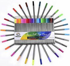FINE FELT TIP PENS - 30 Pc Colored Pen Art Set For Adult Coloring and Drawing -