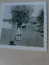 Vintage Black & White Photo Baby in Diaper Outdoors Backyard Parent Shadow 60's