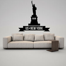 Wall Vinyl Sticker Decal Skyline Horizon Panorama City New York US Liberty F1857