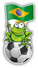 "Brazil Flag Frog Soccer Car Bumper Sticker Decal 3"" x 6"""