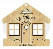House Shaped Christmas Ornament with laser-etched details, address, phrase, year