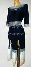 L1965 Sexy black Fringes Latin Cha Cha Ramba Samba Dance Dress US12 Sleeve