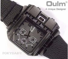 OULM Military Army Leather BLACK Dial COOL Dual Time Zones Wrist Watch