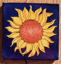 """Talavera Mexican 4"""" tile pottery Flower SUNFLOWER Cobalt Blue Yellow Petals"""