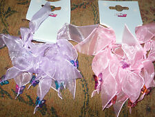 FOUR 2 PINK 2 LILAC Ribbons WINDMILL BUTTERFLY BEAD Hair Bobbles SCRUNCHIE Ties