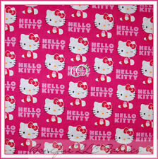 BonEful Fabric FQ Hello Kitty Bright Pink Red Bow Girl Dress Cotton Birthday OOP