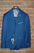 Brand New 40 R Slim Fit Henry Uomo Royal Blue Window Pane Plaid 2pc Mens Suit