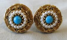 Men Vintage PEARL around TURQUOISE BLUE CUFFLINKS Jewelry H63