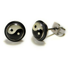 STAINLESS STEEL POST EARRINGS YIN YANG Meditation Martial Arts Balance Studs NEW