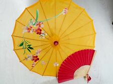 JAPANESE S YELLOW PARASOL RED PAPER HAND FAN CHINESE UMBRELLA WEDDING GIRL PARTY