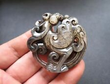 Chinese Antique natural culture jade hand-carved phoenix Pendant M351