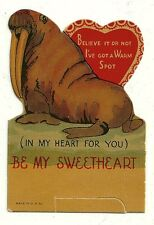 """WALRUS SAYS """"I'VE GOT A WARM SPOT IN MY HEART FOR YOU"""" / VINTAGE VALENTINE CARD"""