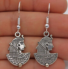 925 Silver Plated Hook - 1.6'' Handsome Tribe Man Retro Silver Prom Earrings #05