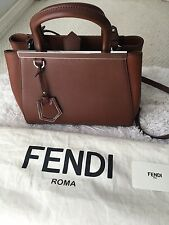 Authentic Fendi 2Jours Petite Walnut/Cognac Satchel Crossbody Bag MSRP $1,900