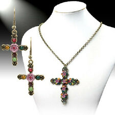 CUTE NEW FLOWER CROSS BLING RHINESTONE WESTERN JEWELRY NECKLACE EARRINGS SET