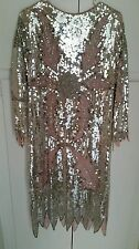 VINTAGE  Beaded 100%SILK DRESS 20's wiggle sexy 1920 flapper 30's 40's sequins