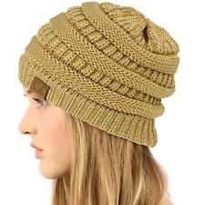 Unisex Winter Chunky Soft Stretch Cable Knit Slouch Beanie Skully Hat Metal Gold