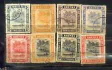 1947 Brunei 8 Stamps Up to $1. Watermark Multi Script CA