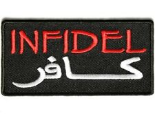 "(CC) INFIDEL Black Arabic 3.5"" x 1.75 sew / iron on patch (3647) Biker Military"