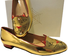 Charlotte Olympia GOLD Kitty Smoking Slipper Flats Shoe Ballet 40-9 Cat