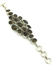 Chunky Multi Stone Smoky Quartz and Sterling Silver Bracelet