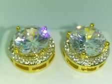 Mens 14K Gold Finish Round lab Diamond Earrings Stud.Hip Hop, Iced out. Big Size