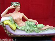Large Vintage Hand-Painted Clay Pottery Nude Napoleon's Sister Lady Statue
