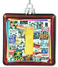 BEATLES NUMBER 1'S 45 RECORD COVERS GLASS CHRISTMAS ORNAMENT! NEW!
