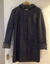 BNWT South women black genuine leather long hooded coat size 12 UK (38 EUR)