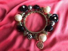 Betsey Johnson Vintage Black Rose Glass Leopard Pearl Heart Stretch Bracelet