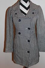 Women's VOLCOM Blue Houndstooth Lined Double Breasted Jacket Coat Sz S L#1229