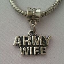 Army Wife USA Military Dangle Charm Bead Silver for European Bracelet
