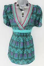 Stunning Oasis Silk Print Embellished Tunic Evening Day Top Size 8