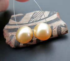RARE AA+ SOUTH SEA SHINING GOLDEN 10.9-11mm CULTURED SHININIG PEARL PAIR