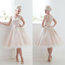 White/Ivory Tea length Wedding Dresses Cap Sleeve Bow Bridal Prom Formal Gowns