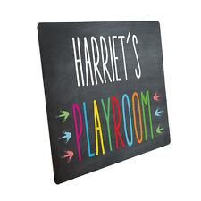 Personalised Kids Playroom Metal Door Sign Blackboard Slate Design Name Plaque