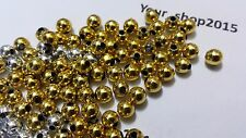 SPACER BEADS Silver/Gold colour Round Ball  Jewellery Making 2,4,6MM